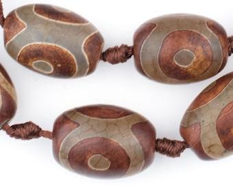 12 Oval-Shaped Tibetan Agate Beads - Brown Agate Gemstone - Jewelry Supplies - Gemstone Beads - Agate Necklace - Dzi Agate (TAG-OVL-BRN-103)