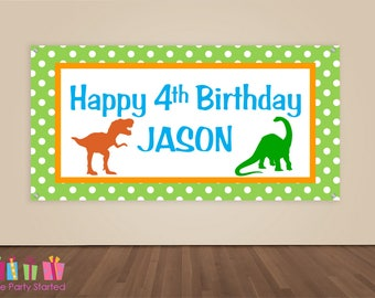 HAPPY BIRTHDAY Banner, Dinosaur Birthday Decoration, Dino Party Backdrop, Dinosaur Party Banner, Boys Birthday Party, Vinyl Banner