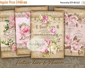 40% OFF SALE - CARDS Vintage Lace and Flowers - Digital Collage Sheet - Romantic Tags - Scrapbooking Backgrounds - Digital Printables - Prin