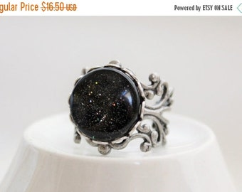 SALE Deep Space Galaxy Filigree Statement Ring. Space Jewelry