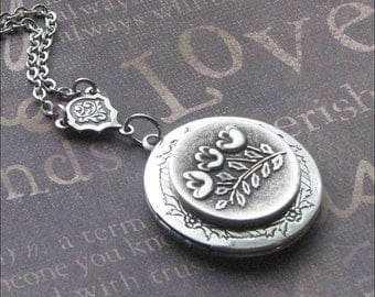Silver Locket Necklace - Enchanted Tulips - Handmade by TheEnchantedLocket Valentines Day Gift