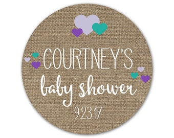 Custom Baby Shower Labels - Personalized Baby Shower Stickers - Rustic Baby Shower - Rustic Labels - Hearts Shower Stickers - Jar Labels