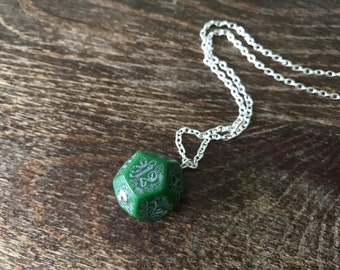 D12 dice necklace forest dice pendant dungeons and dragons geek geekery green black forest dice jewelry pathfinder jewelry D12 necklace dice