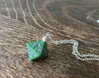 D8 dice necklace forest dice pendant dungeons and dragons geek geekery green black dice pendant pathfinder jewelry D20 girl