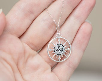 High School Graduation Gift - Silver Compass Necklace - Wanderlust Jewelry - Travel Necklace - Going Away Gift Enjoy the Journey