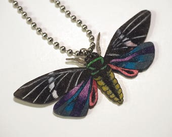 Shrink Plastic, Moth Dragonfly Insect Necklace, Shrinky Dink, Women's accessories, Gift Ideas, Handmade