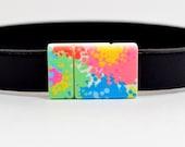 10mm Flat Lightweight Acrylic Clasps - 10F-ACP10 - Color Splash Pattern