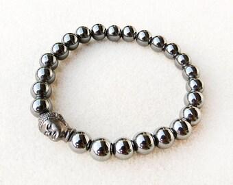 Men's Bracelet, Buddha, Dark Gray, Hematite, Mala, Zen, Stretch Bracelet, Black, Handmade, Bracelet for Man, Gift for Him, Gift for Man