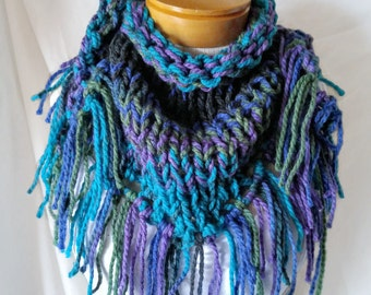 Extra chunky triangle scarf Teal purple neckwarmer Small shawl Cowl neck acrylic Gift for her Chunky knits wrap Winter warm boho accessory