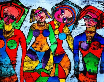 Girls Wanna Have fun - ooak - 20 x 16ins (50 x 40cms) When girls get together they just want to play