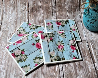 Blue and Pink Rose Tile Coasters, Shabby Chic Coasters, Tile Coaster Set of 4, 4 In. Square Tile Coasters, Beverage Coasters, Drink Coasters