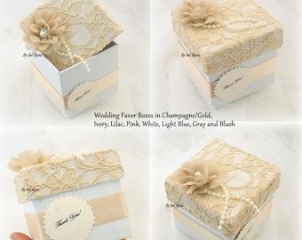 Wedding Favor Box, Champagne, Gold, White, Lace Favor, Pearls, Vintage Wedding, Bridal Shower Favor,Elegant,Guest Favor, Wedding Decoration
