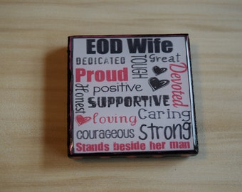 EOD wife subway art 2X2 Square Magnet for Magnet bulletin board, Refrigerator Magnet