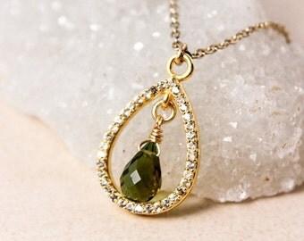 CHRISTMAS SALE Gold Green Tourmaline Teardrop Necklace- Tourmaline Pendant - Diamonds, Gold Filled