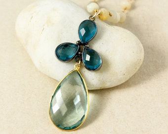 London Blue Quartz & Aqua Quartz Teardrop Necklace - Opal Chain - Layering Necklace