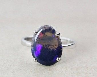 50% OFF SALE - Silver Australian Opal Rings - Free Form - 925 Sterling Silver