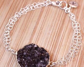 50% OFF Silver Black Druzy Bracelet - Initial Bracelet - Choose Your Stone