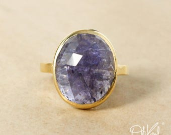 Gold Oval Blue Iolite Statement Ring - Blue Iolite Stone Ring - Choose Your Setting