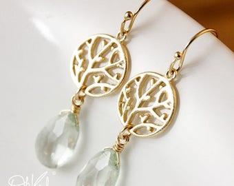 ON SALE Gold Green Amethyst Earrings - Tree Filigree - 14K Gf