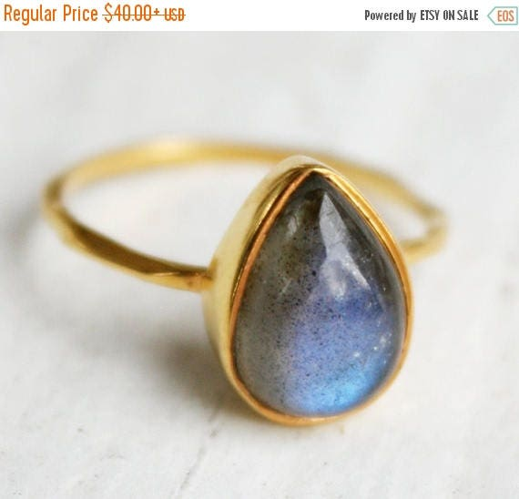 50% OFF Gold Blue Labradorite Teardrop Ring - Delicate Band - Stackable Ring - Marked Down