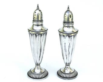 vintage sterling silver salt and pepper shakers   ...   tall
