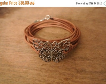 SALE 25% OFF Madam Butterfly Pewter Leather Wrap Bracelet