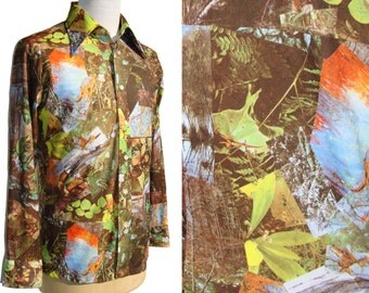 Vintage 70s Shirt Mens Disco Nature Photo Mosaic Print Polychromatic Colors L