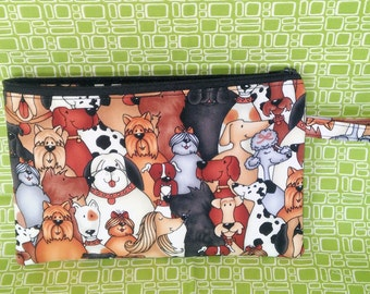 Gifts for dog lovers, Mini dog bag, wristlet dog print bag, zipper pouch, cell phone mini bag- dog walking fanny pack, running bag KBD704