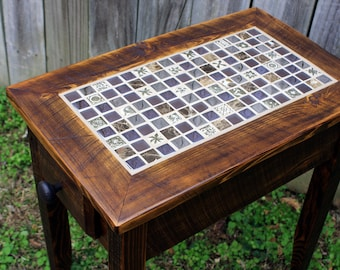 """Side Table.  Mosaic End Table.  Tile Side Table.  Rustic Refined End Table.  """"Reflections Tile"""".  Dark Brown Wax Finish - Handmade"""