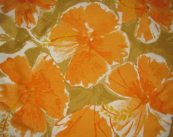 Vintage Vera Neumann Lucky Ladybug Square Scarf - Orange, Gold Floral Pattern - Large-Scale Flowers