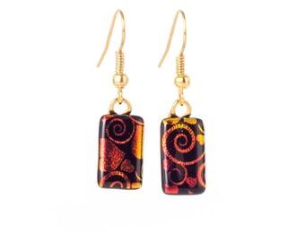 Orange Swirl Hanging Earrings