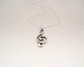 Sterling silver Treble Clef Necklace...Musician jewelry, Music Note Necklace, Music Jewelry, Music Necklace, Bridesmaid gift