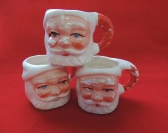 Santa miniature mug 1950's jolly egg nog shot glass Christmas mixed media planter