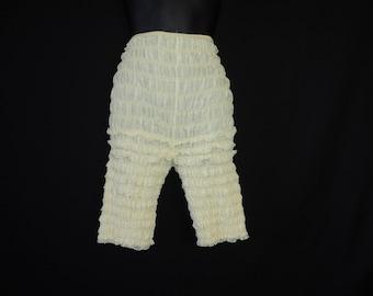 ruffle tap panties yellow lace high waist rumba square dance shorts frilly sissy large XL petticoat pants