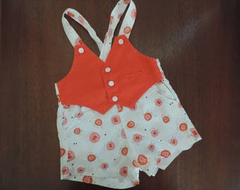 50s lion baby outfit novelty print toddler red and pink lions one piece suit romper