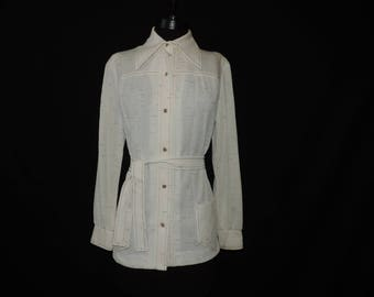 1960s cream button down vintage static texture pointed collar light jacket belted blouse plus size 1X new old stock