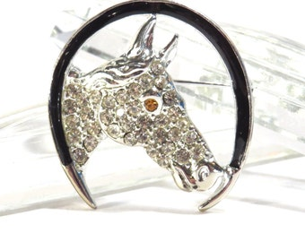 Lucky Horse Silhouette Rhinestone Brooch Vintage 1950s / 1960s Horseshoe Broach Horse Head Pin - FREE Domestic Shipping