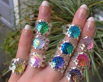 Mermaid Ring, Adjustable Fun Rings, Silver, Scale Rings, Dragon Scales, Ocean, Beach, Rainbow, Mermaid Costume, Party Favor, filigree BOGO