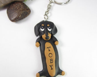 Dachshund Keychain Personalized custom keychain key chain ring Dachshund gifts name tag dog lover gifts dog polymer clay black unique doxie