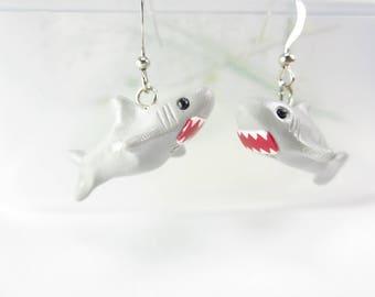 Shark Earrings, shark jewelry, miniature animal earrings, polymer clay, unique earrings, unique gift, cute earrings, gray, womens gift