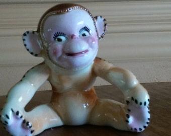 MCM Monkey Bud Vase- 1950s Baby Birth Plant Floral Vase Vessel