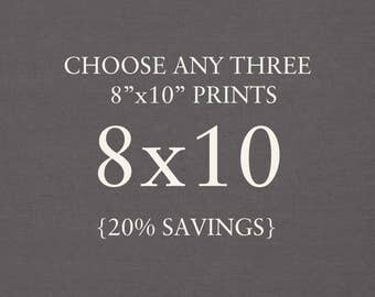 """Collection - You Choose Any Three 8""""x10"""" Photographs. 20% Savings. Affordable Home Decor. Wall Art, Gift Set."""