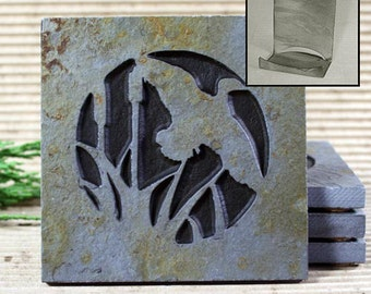 Etched Natural Stone Coaster Set with Holder - Duck on Copper Slate