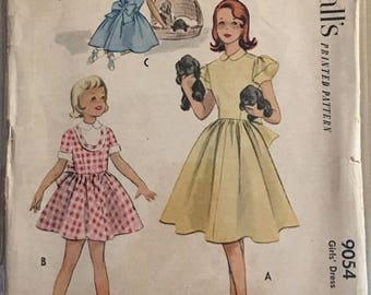 Vintage McCall's 9054 Girls Sewing Pattern Size 10 ©1952