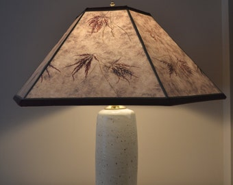 Stoneware lamp with handmade mica shade with Japanese Maple leaves
