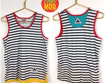 Vintage 80s 90s Black & White Stripe Primary Color New Wave Tank Top!