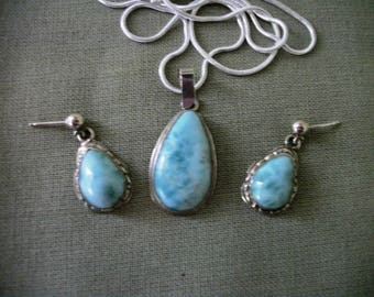 Dominican Larimar  Sterling Silver  Pendant + Stud  Post  Earrings Teardrops  Boho