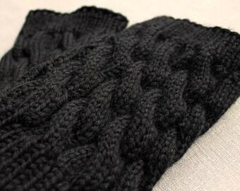 Boot Cuff/Boot Sock/Leg Warmer - Knitted in Black Wool Yarn