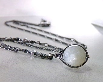 Moonstone Necklace, White Black Necklace, Sterling Silver Necklace, June Birthstone Necklace, Gemstone Necklace - Moon Wrap