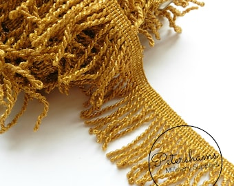 5cm Metallic Lightweight Bullion Fringe 1 metre (1.09 yards) - Gold